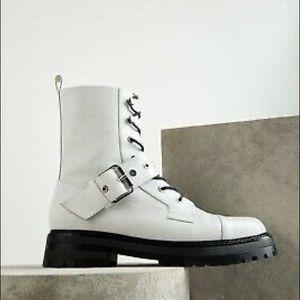 Zara leather combat boots